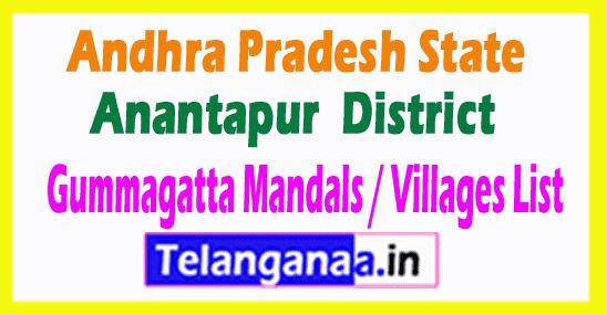 Gummagatta Mandal Villages Codes Anantapur District Andhra Pradesh State India
