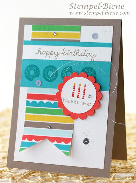 Stampin Up Geburtstagskarte, Stampin Up Stempelparty, Stempelpartyprojekte, Stampin Up Sprinkles on Top, Stampin Up bestellen, Match the Sketch, Stempel-biene