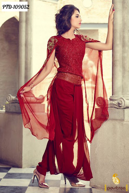 Red Color Semi Stitched Party Wear Suit Online Shopping with Discount Offer Price in India