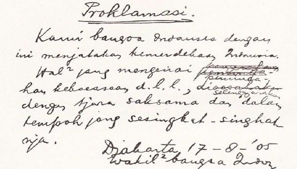 Proses Perumusan Teks Proklamasi Kemerdekaan