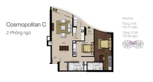 Mặt bằng căn hộ City Garden: Cosmopolitan C 2 phòng ngủ