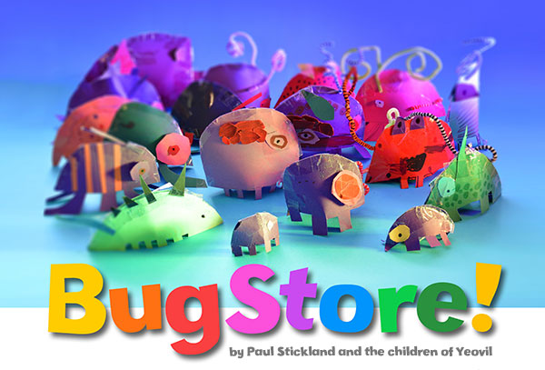 Paul Stickland, BugStore, pop up paper bug workshops, pop up books, pop up bugs,