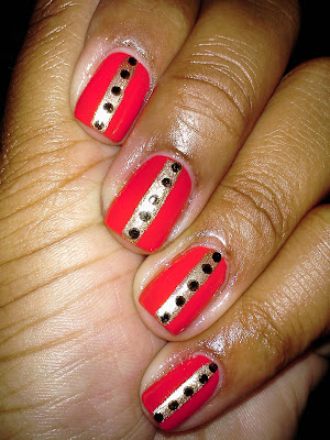 Revlon Craving Coral, Steven Tyler inspired, center stripe, black, gold, nail art, nail design, mani