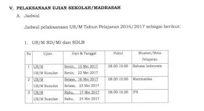 POS US SD TAHUN PELAJARAN 2016 - 2017