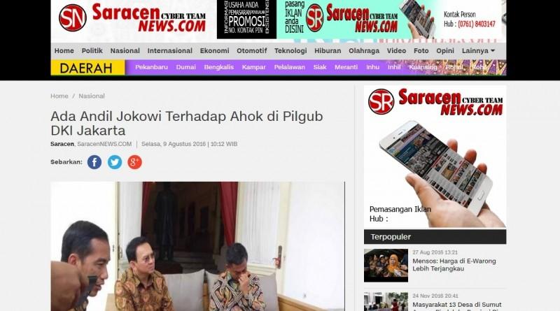 Berita Saracenews soal Jokowi dan Ahok