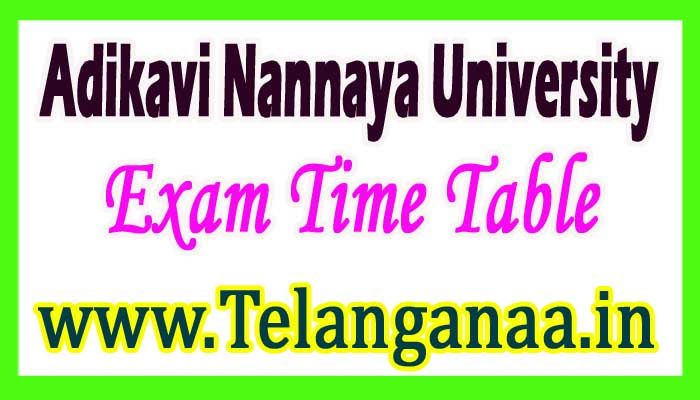 Adikavi Nannaya University UG 2nd / 4th Sem. Exam Time Table 2017