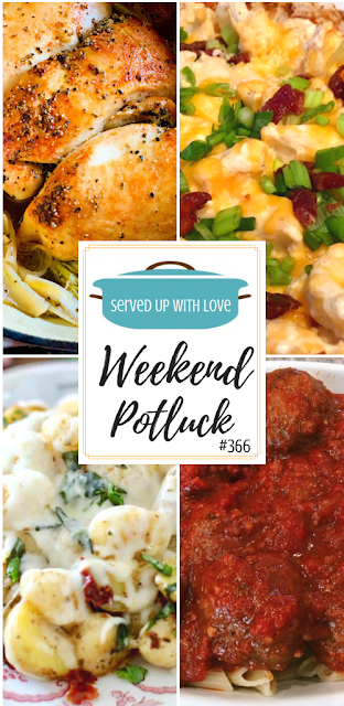Weekend Potluck featured recipes include Best Oven Rotisserie Chicken, Crock Pot Italian Meatballs with Sauce, Shamrock No-Bake Cake Batter Truffles, Loaded Baked Cauliflower Casserole, Cheesy Italian Potatoes and Gnocchi, and more.