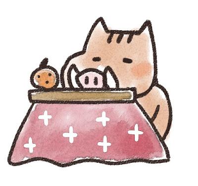 コタツでくつろぐ猪のイラスト(亥年)