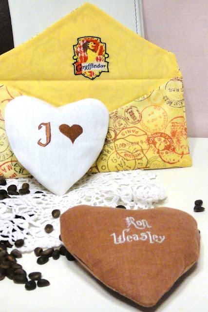 Сердце подвеска с вышивкой и письмо из Хогвартс - сувенир для поклонников Рон Уизли, ручная работа
