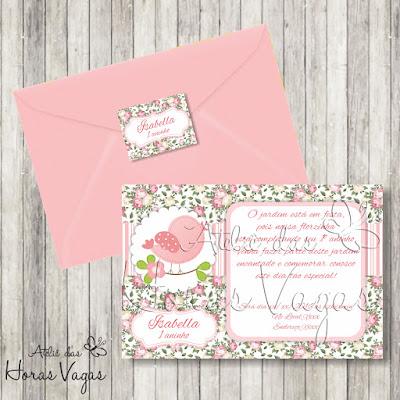 convite aniversário infantil personalizado 1 aninho passarinhos jardim encantado floral rosa delicado vintage provençal bebê menina festa envelope adesivo tag