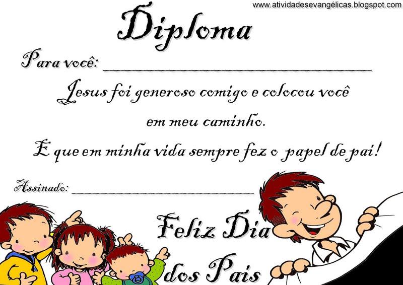 Musical Dia Dos Pais Evangelica: Atividades Evangélicas: Diploma Para O Dia Dos Pais