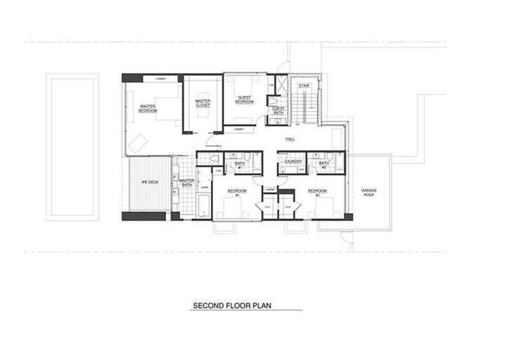 First floor plan of Small minimalist home by Steven Kent