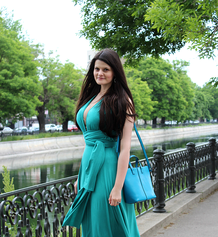 different ways to wear a multiway convertible dress, long dress