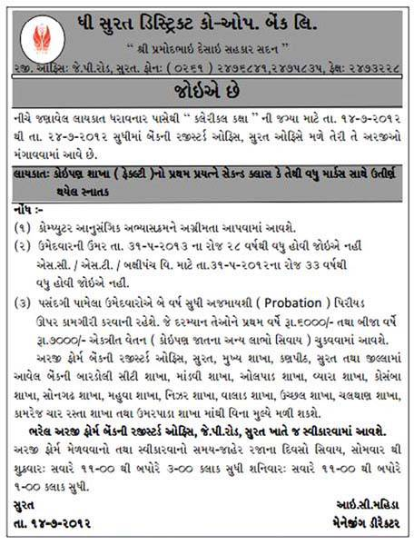 The Surat District Co-operative Bank Clerical Post Recruitment 2016
