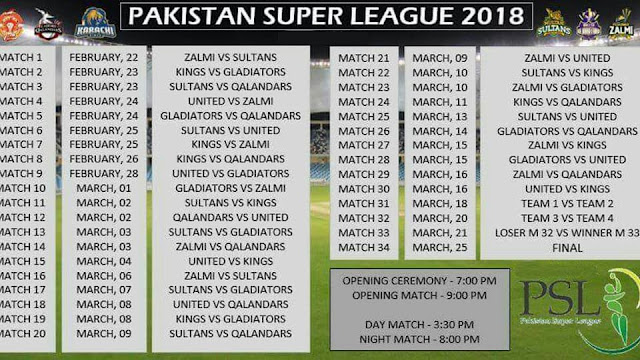 PSL Schedules,  PSL Timetable, PSL 2018 Schedules, PSL 2018 Fixture, PSL 3 Matches Schedules