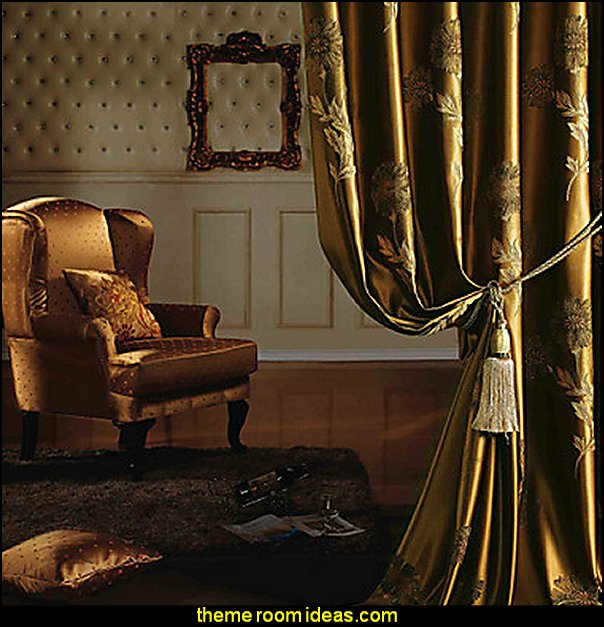 Two Panels European Neoclassical Gold Bedroom Polyester Panel Drapes at LTB