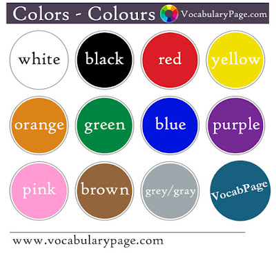 Colors Colours in English