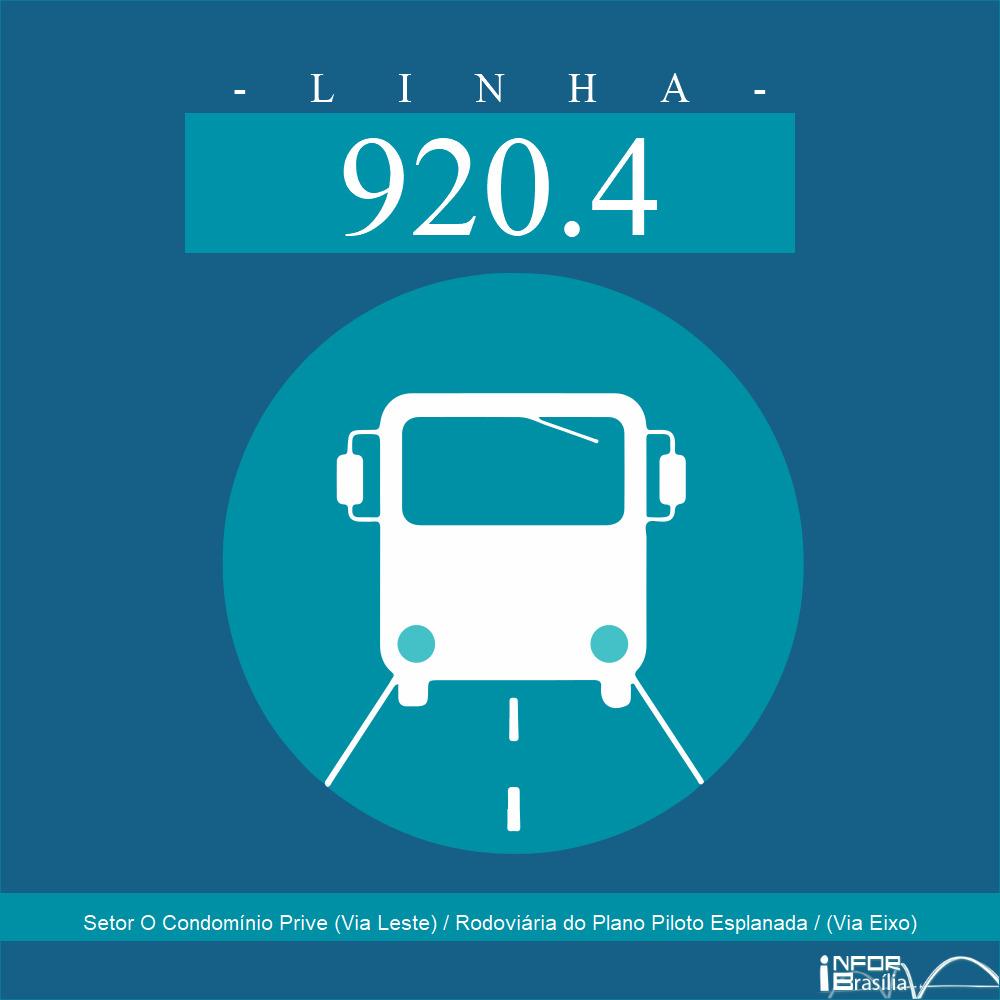 Horário e Itinerário 920.4 - Setor O Condomínio Prive (Via Leste) / Rodoviária do Plano Piloto Esplanada / (Via Eixo)