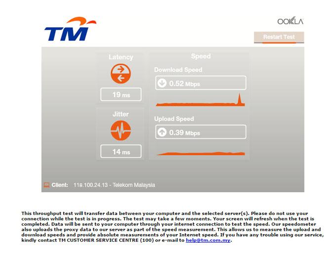 Speed Streamyx Mengecewakan Walau Setiap Bulan Bayar RM150