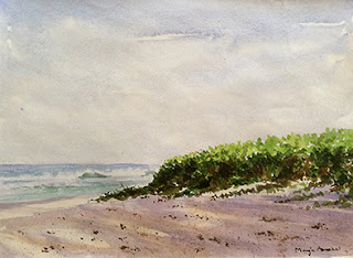 water colour painting of Vaddi beach at Soth Goa by Manju Panchal