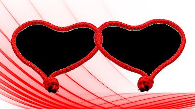 Moldura Dia dos Namorados 2 corações entrelaçados in red 5 png