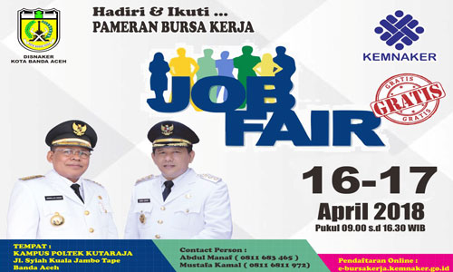 Ikuti Job Fair di Poltek Kutaraja Banda Aceh 16-17 April 2018