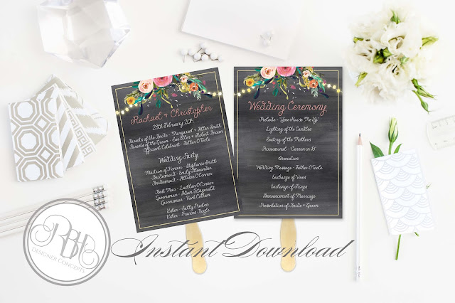 watercolour boho wedding ceremony program by rbhdesignerconcepts.com