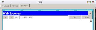 Kembali ke PC, pilih tab Desktop lalu Web Browser. Ketik alamat IP server yaitu 192.168.1.100.