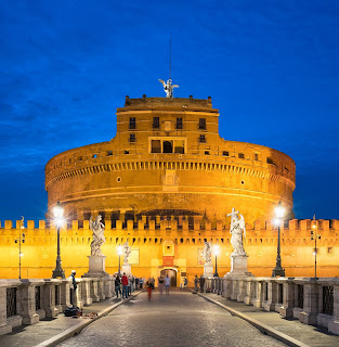 Castel Sant'Angelo - the Mausoleaum of Hadrian - viewed from the Ponte Sant'Angelo at night