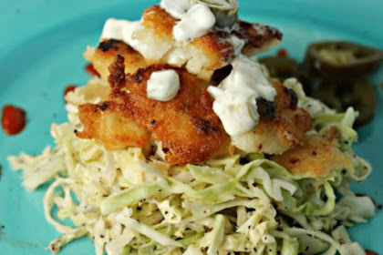 Paleo Fish Tacos with Spicy Cabbage Slaw