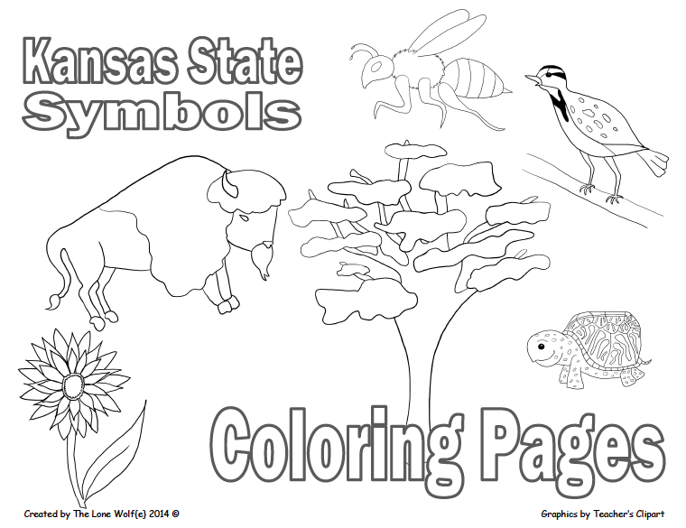Kansas state flag coloring page for Kansas state symbols coloring pages