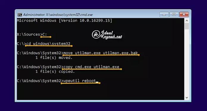 Windows 10 Unutulan Kullanıcı Şifresini Sıfırlama