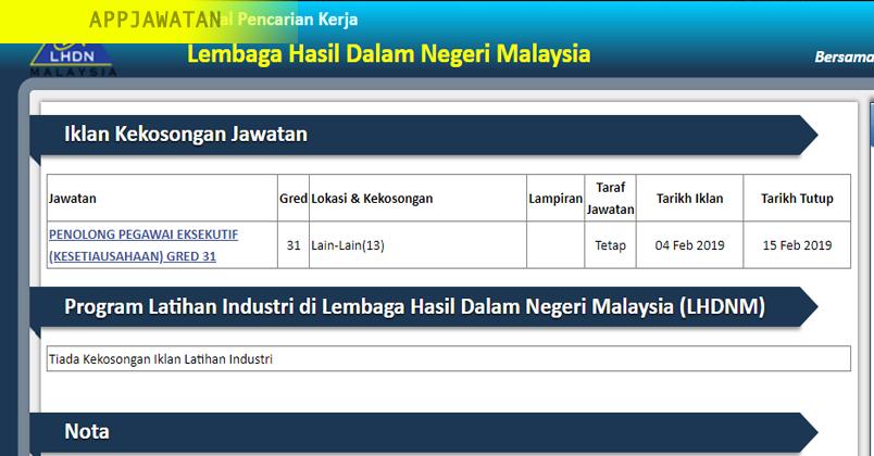 Jawatan Kosong Di Lembaga Hasil Dalam Negeri Malaysia Lhdn 15 Februari 2019 Appjawatan Malaysia