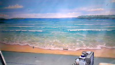 Mural 3D, graffiti w pokoju młodzieżowym, pejzaż morski, obraz 3D zamiast tapety