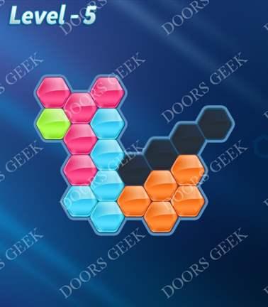 Block! Hexa Puzzle [Rainbow A] Level 5 Solution, Cheats, Walkthrough for android, iphone, ipad, ipod