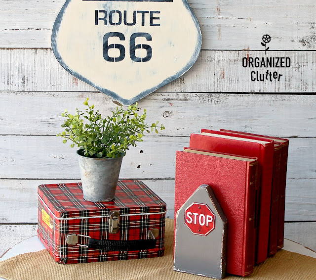 Route 66/Stop Sign Upcycled Bookends #hobbylobbymagnet #upcycle #dixiebellepaint #stopsign #route66
