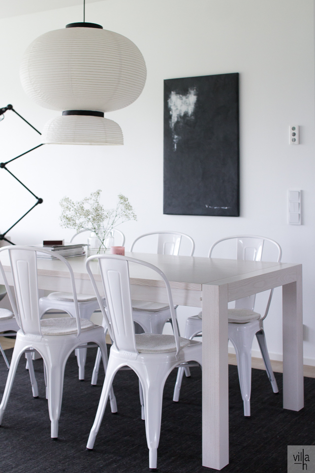 villa h, formakami, matto ruokapöydän alle, sisustus