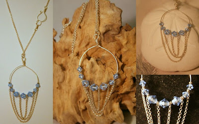 Aqua pendant: Victorian era inspire, Sterling Silver, Swarovski :: All Pretty Things