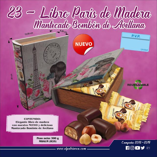 Libro París de madera con Mantecados Surtidos El Patriarca 300 g - Comercial H. Martín sa