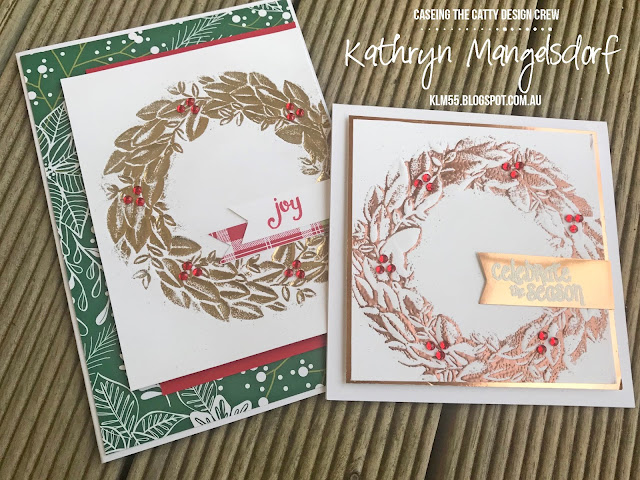 Stampin' Up! Season Wreath Dynamic Embossing Folder, Christmas Card, Embossing Folder, Reverse Embossing, Under the Mistletoe Designer Series Paper designed by Kathryn Mangelsdorf