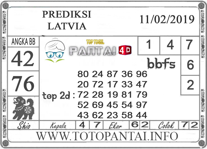 """Prediksi Togel """"LATVIA"""" PANTAI4D 11 FEBRUARI 2019"""