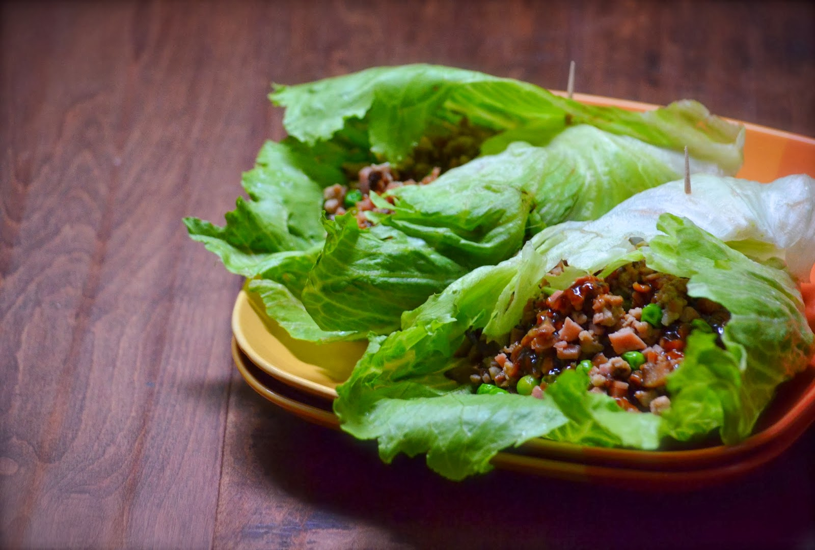 lettuce wrap pork peas spam hoisin PF chang