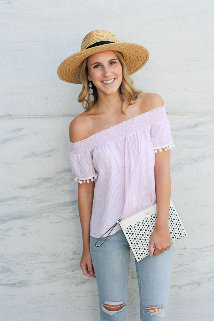 Striped off the shoulder top with pom trim