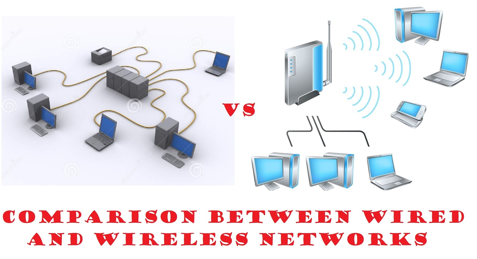medium resolution of comparison between wired network and wireless network