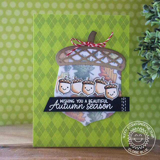 Sunny Studio Stamps: Beautiful Autumn Nutty For You Happy Harvest Vellum Acorn Card by Eloise Blue