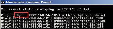 find machine name using ip address