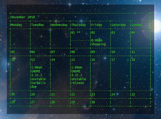 Conky Google Calendar green