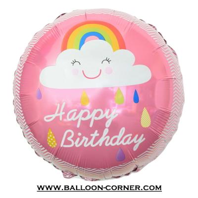 Balon Foil Bulat HAPPY BIRTHDAY Motif Awan Smile Pelangi Pink