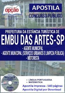 Apostila Digital Prefeitura de Embu das Artes Agente Municipal GRÁTIS CD ROM