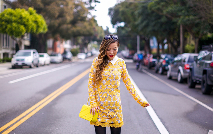 Endless rose long sleeve all over lace dress, yellow lace dress, christian louboutin so kate pumps, baublebar melina hoops earrings, tory burch crossbody bag, ted baker faux fur coat, san francisco street style, san francisco fashion blog, winter outfit ideas
